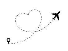 Airplane Line Path In Heart Fo...