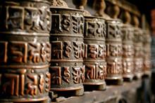 Prayer Wheel At Nepal Monkey T...