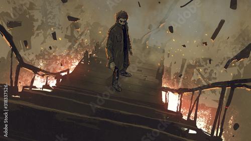 Fototapeta Mężczyzna w płaszczu z pistoletem stojący na płonących schodach grafika do pokoju