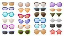 Sunglasses Silhouettes. Colorf...