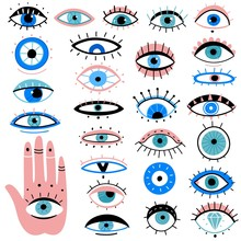 Evil Eyes. Hand Drawn Various Talismans, Different Shapes Mystic Elements, Luck Occult Amulet, Magic Alchemy Sketch Eye Tattoo Vector Symbols