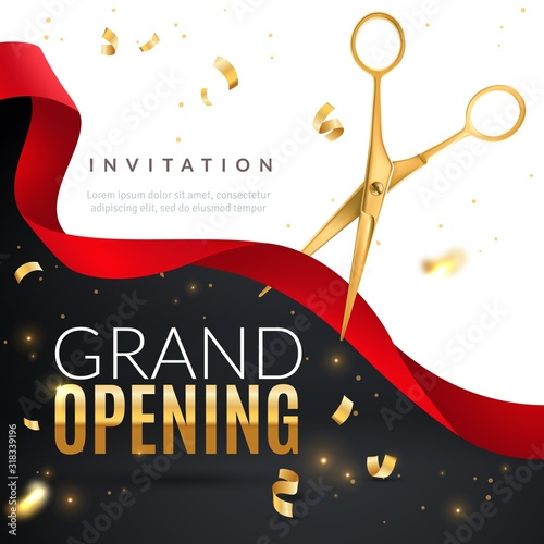 Grand opening. Golden confetti and scissors cutting red silk ribbon, inauguration ceremony banner, opening celebration vector poster
