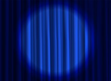 Stage Blue Curtain. Theatrical...