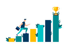 Vector Illustration, People Are Running Towards Their Goal On The Stairs Or Columns, Moving Up To Their Dreams. Motivation, The Path To Achieving The Goal