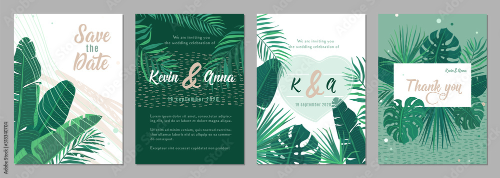 Fototapeta Wedding invitation floral template vector background. Tropical pattern frames in trendy minimal flat style for graphic design