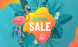 Summer sale vector poster background with bright geometric elements, tropical leaves, flamingo, frangipani flowers. Special offer flyer illustration. Tropic graphic design on blue backdrop