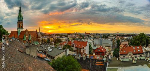 Leinwand Poster Zachód słońca nad Krakowem, dzielnica Podgórze