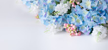Flower Frame, Banner. Postcard With Blue Hydrangea Flowers On A White Background. Space For Text.