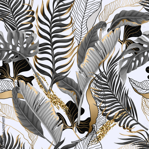 Tapety złote  seamless-pattern-with-black-and-white-tropical-leaves-and-golden-elements-vector
