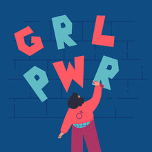 Happy Confident Woman Draws Graffiti On The Brick Wall.GRL PWR Lettering.International Women Day.look From The Back.Flat Cartoon Characters On White Background.Colorful Vector Illustration