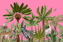 Border With Jungle Trees And Wild Birds And Animals. Vector.