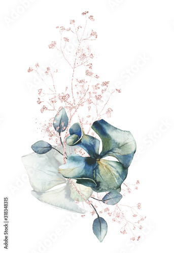 Watercolor painted floral bouquet isolated on white background Poster Mural XXL