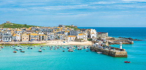 Elevated views of the popular seaside resort of St. Ives