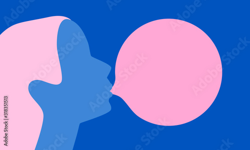 Obraz Woman blowing pink bubble gum on a blue background. Flat design. Vector illustration - fototapety do salonu