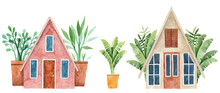 Watercolor Illustration Of Cottage Houses With Palm Trees