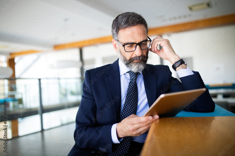 Fototapeta Mature handsome business man using a digital tablet at office