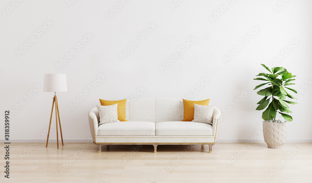 Fototapeta Bright modern living room with white sofa, floor lamp and green plant on wooden laminate. Scandinavian style, cozy interior background. Bright stylish room mockup. 3d render