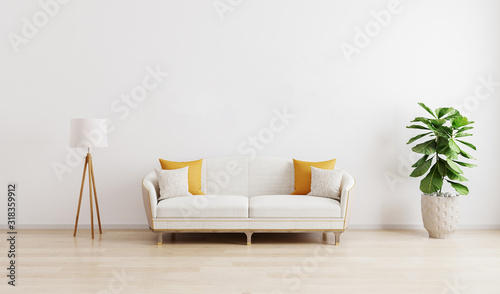 Fototapeta Bright modern living room with white sofa, floor lamp and green plant on wooden laminate