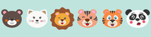 Cute Cartoon Characters Animals Bear, Cat, Lion, Tiger And Panda.