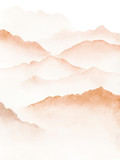 Hand drawn watercolor painting of blue foggy mountains - 318362937