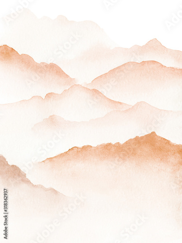 Obraz Hand drawn watercolor painting of blue foggy mountains - fototapety do salonu