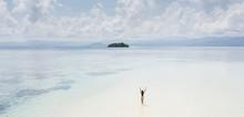 Woman Walking Alone On Amazing...