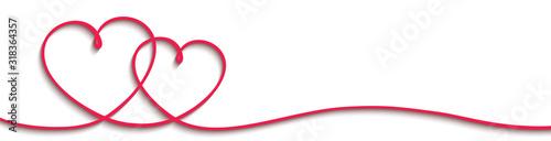 Obraz Two beautiful hearts with shadows - stock vector - fototapety do salonu