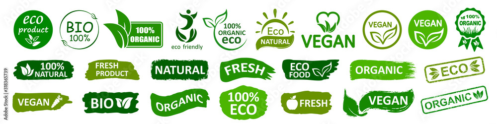 Fototapeta Organic natural bio labels set icon, healthy foods badges, fresh eco vegetarian food – stock vector - obraz na płótnie