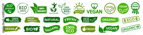 Stampa su Tela Organic natural bio labels set icon, healthy foods badges, fresh eco vegetarian