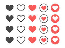 Like And Heart Icon. Red And Black Heart Web Buttons Isolated On White Background. Valentines Day. Vector Illustaration.