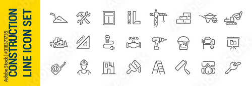 Tablou Canvas Building construction vector isolated line icon set