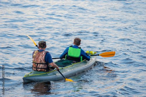 Cuadros en Lienzo Travel on the lake by kayak