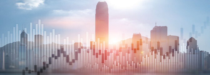 Fototapeta na wymiar Trading investment chart graph city skyline view double exposure website panoramic header banner