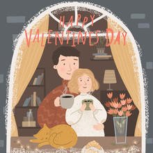 Happy Valentine's Day! Cute Vector Illustration Of A Couple In Love By The Window Of A House On A Festive Spring Day. Drawing For Card, Postcard Or Poster.