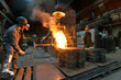 Leinwandbild Motiv workers in a foundry casting a metal workpiece - safety at work and teamwork