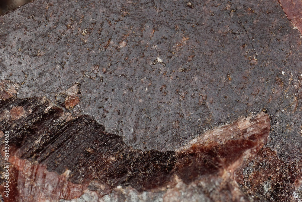 Fototapeta Macro photo of the surface of Kala namak, a black rock salt