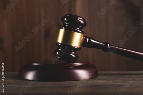 Law and judgement concept. Wooden gavel as a legal auction simbol Wallpaper Mural