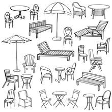Hand Drawn Garden Furniture. Vector Sketch Illustration.