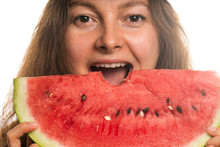 Attractive Woman Eating Watermelon