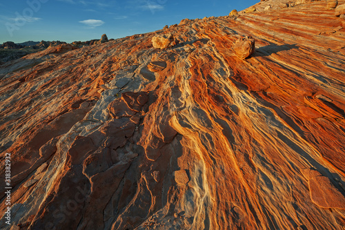 Rocky desert landscape shortly after sunrise, Valley of Fire State Park, Nevada, Wallpaper Mural