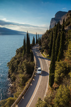 Drive In Car On The Shore Of Lake Garda Italy