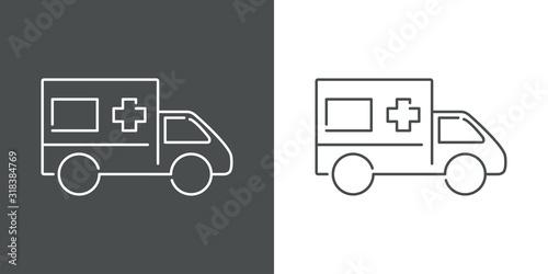 Icono lineal ambulancia en fondo gris y fondo blanco