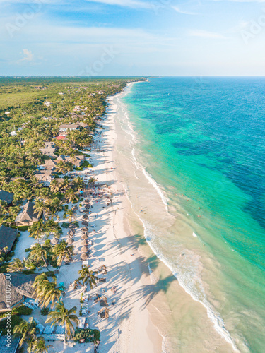 Amazing aerial view of Tulum Beach, in the Caribbean Ocean, near Cancun, Mexico Wall mural