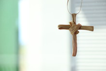 Close Up Of Cross Made By Leaf