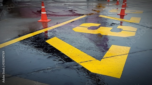 Fotografie, Obraz Road Markings And Traffic Cones On Wet Road