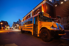 School Bus At Evening On The S...