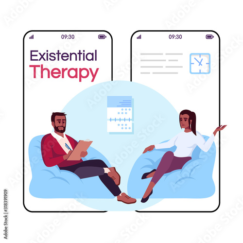 Fototapeta Existential therapy cartoon smartphone vector app screen