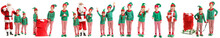 Santa Claus And Little Elf Kids On White Background