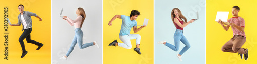 Papel de parede Collage with different jumping people holding their laptops