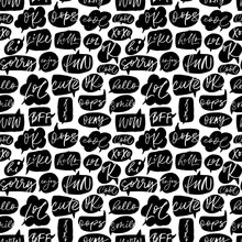 Speech Bubble Vector Seamless Pattern With Short Slang Youth Words.